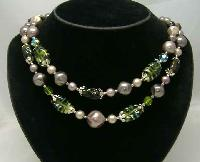 1950s 2 Row Faux Pearl & Green Art Glass Bead Necklace