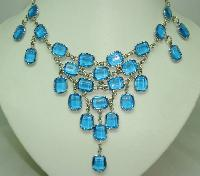 Vintage 50s Style GlamorousTeal Blue Glass Drop Bib Cascade Necklace
