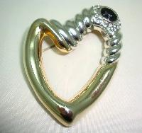 Large Contemporary Gold and Silver Diamante Stylised Heart Brooch Fab!