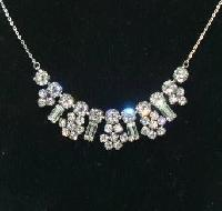 Vintage 50s Sparkling Diamante Paste Flower Drop Necklace on Chain Pretty