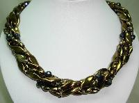 Vintage 50s 6 Row Gold & AB Glass Bead Twist Necklace Fab Flower Clasp