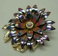 Vintage 1950s AB Enamel Metal Diamante Flower Brooch