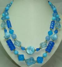 Vintage 50s 2 Row Shades of Blue Lucite Bead Necklace