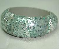 Vintage 50s Style Wide Chunky Mint Green MOP Bangle