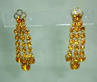 1950s Sparkling Citrine Amber Diamante Dangle Tassel Clip On Earrings