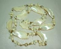 Vintage 50s Fab Chunky Mother of Pearl Irregular Shape Link Necklace
