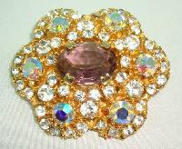 1950s AMAZING AB & Purple Diamante Flower Shaped Brooch