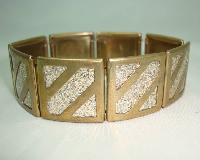 Vntage 30s Wide Goldide Lucite Sparkle Geometric Square Link Bracelet