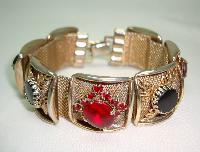 Vintage 50s Wide Gold Link Red & Black Diamante Bracelet