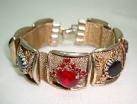 Vintage 50s Wide Gold Link Red & Black Diamante Bracelet