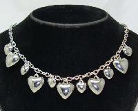 Vintage 50s Style Silver Heart Shaped Dangle Charm Necklace