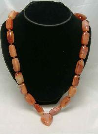 Vintage 50s Fabulous Chunky Cornelian Heart Pendant Bead Necklace