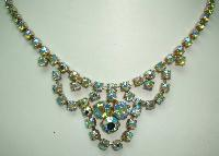 1950s Sparkling Green AB Diamante Cascade Drop Necklace