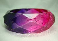 Fab Wide Pink Purple Crackle Effect Lucite Diamond Cut Facet Bangle