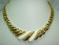 Vintage 80s Classy and Elegant Chunky Gold Link Cream Lucite Necklace