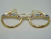 Vintage 80s Diamante Dame Edna Spectacles Brooch FUN!