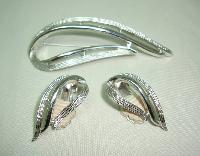 60s Signed Sarah Cov Silver Openwork Swirl Design Brooch and Earrings