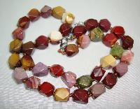 £17.60 - Beautiful Colourful Natural Agate Faceted Bead Hand Knotted Necklace