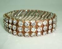 Vintage 50s Sparkling Wide 3 Row Expandable Diamante Goldtone Bracelet