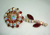 Vintage 50s Stunning Quality Red & AB Diamante Flower Brooch