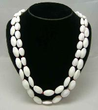 1950s 2 Row Winter White & Red Glass Bead Necklace WOW