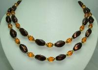 Vintage 50s 2 Row Amber Glass Faux Pearl Bead Necklace