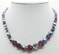 £24.00 - Vintage 50s Signed Exquisite Purple AB Crystal Glass Bead Necklace Diamante Clasp