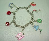 Fabulous Enamel and Diamante Silvertone Charm Bracelet 8 Super Charms