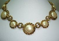 1980s Chunky Faux Pearl and Gold Chain Link Collar Necklace Stunning!