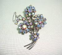 £22.40 - Vintage 1950s Aurora Borealis Rhinestone Diamante Flower Spray Brooch