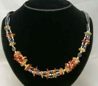 £18.40 - Vintage 1980s Classy  3 Row Carnelian & Hematite Gold Bead Necklace