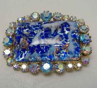 £21.60 - 1950s BIG AB Diamante & Blue Gold Flecked Glass Brooch