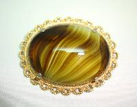 Vintage 50s Signed Sphinx Large Domed Green Agate Glass Gold Brooch