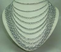Vintage 50s Fab 9 Row Graduating Silver Chain Necklace