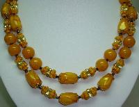 Vintage 50s Stunning 2 Row Amber & Gold Lucite Lustre Bead Necklace