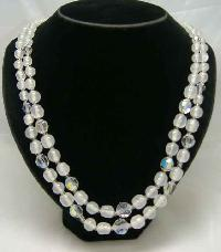 Vintage 50s 2 Row Crystal & Opaque Glass Bead Necklace