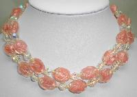£96.00 - 1930s 2 Row Pink and Clear Swirl Art Glass AB Crystal Bead Necklace