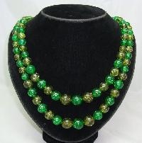 1950s 2 Row Green Lucite Confetti Glitter Bead Necklace