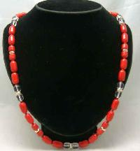 Vintage 50s Long Red Czech Glass Bead Necklace WOW
