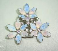 Vintage 50s Stunning Large Opaline Glass and Diamante Flower Brooch