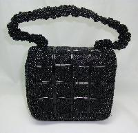 £21.60 - 1950s Style Pretty Black Evening Box Style Handbag WOW!