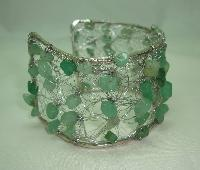 Unique Wide Knitted Wire Green Jade Bead Silvertone Cuff Bracelet