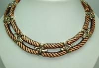 £20.00 - 1970s Very Attractive Wide Brown and Gold Lucite Collar Necklace MINT!