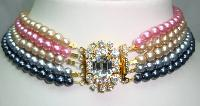 £54.00 - 1950s 5 Row Multicoloured Pearl Necklace DIAMANTE CLASP