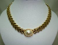 £33.60 - Vintage 80s Quality Wide Gold and Faux Pearl Fancy Collar Necklace