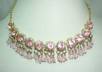 1950s FAB Pink Diamante Flower Bead Drop Gold Necklace