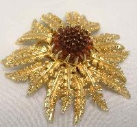 Vintage 60s Signed Sarah Cov Fabulous Gold Amber Glass Flower Brooch