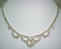 £20.00 - Vintage 50s Pretty Diamante Cascade Drop Sparkling Necklace