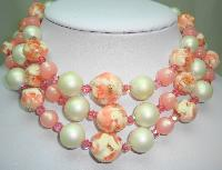 1950s Fab 3 Row Pink and White Lucite Crystal and Pearl Bead Necklace