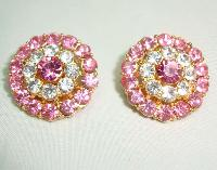 Vintage 50s Fab Pink Diamante Flower Clip On Earrings